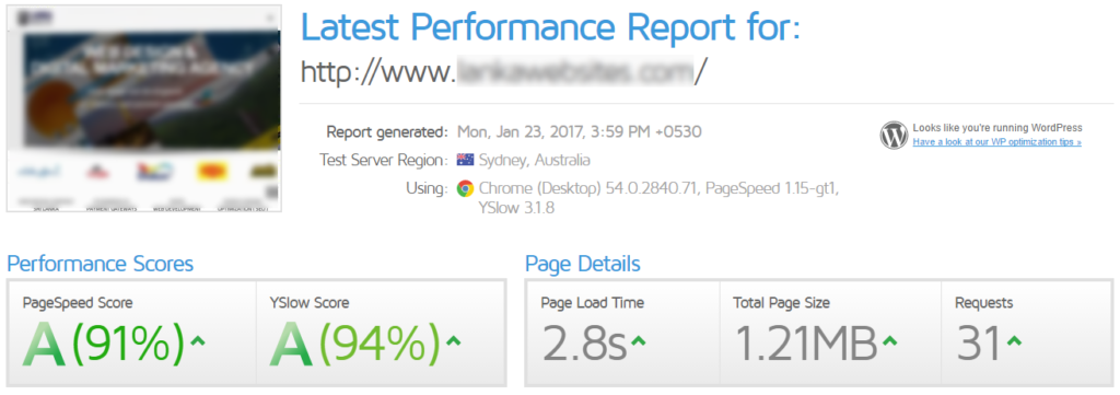 websites are optimized to rank A grade on PageSpeed and YSlow
